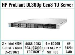 HP ProLiant DL360p Gen8 2×E5-2630v2 Xeon 6-Core 2.6GHz + 96GB RAM + 4×600GB SAS