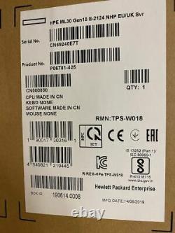 P06781-425 HPE ProLiant ML30 Gen10 Intel Xeon E-2124 Quad-Core (3.30GHz 8MB) 8GB
